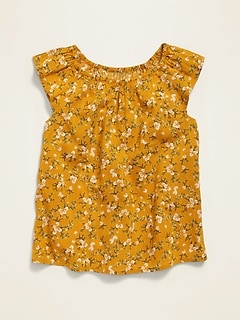 Printed Flutter-Sleeve Top for Girls