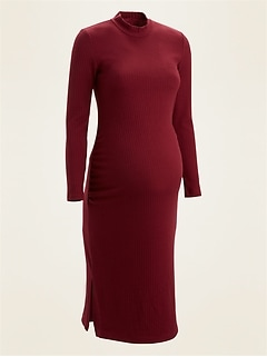 Maternity Rib-Knit Mock-Neck Bodycon Dress