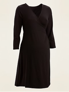 Maternity Jersey-Knit Faux-Wrap Fit & Flare Dress