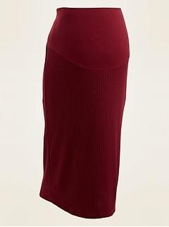 Maternity Full Panel Rib-Knit Midi Skirt
