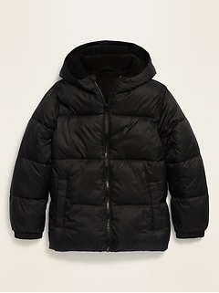 Frost-Free Hooded Nylon Puffer Jacket for Boys