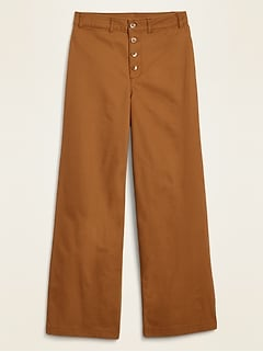 Extra High-Waisted Button-Fly Crop Wide-Leg Pants for Women