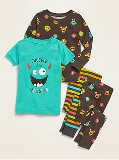 4-Piece Monster-Graphic Pajama Set for Toddler Boys & Baby