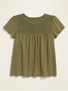 Lace-Yoke Short-Sleeve Jersey Top for Girls