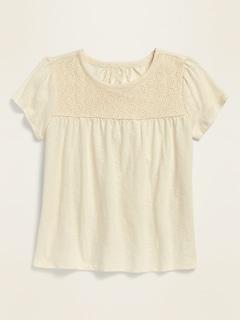 Lace-Yoke Short-Sleeve Jersey Top for Girls