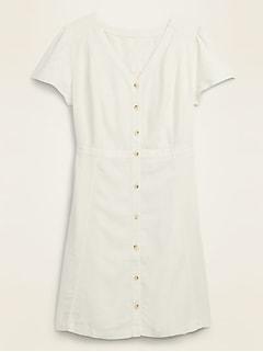 Linen-Blend Button-Front No-Peek Fit & Flare Plus-Size Dress