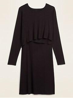Maternity Rib-Knit Cross-Front Nursing Dress