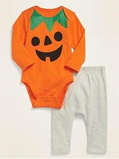 Unisex Halloween Graphic Long-Sleeve Bodysuit & U-Shaped Pants Set for Baby