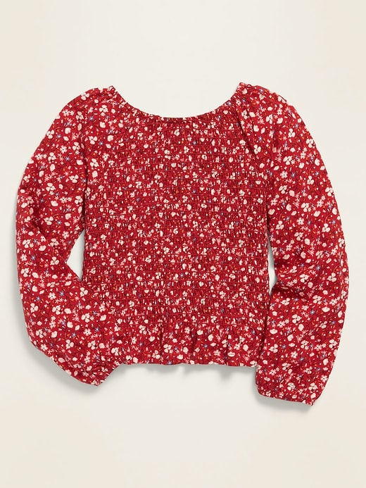 Long-Sleeve Smocked Jersey Top for Girls