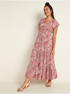Waist-Defined Printed Tiered-Hem Maxi Dress for Women