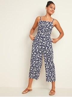 Combinaison camisole à imprimé à encolure carrée pour femme