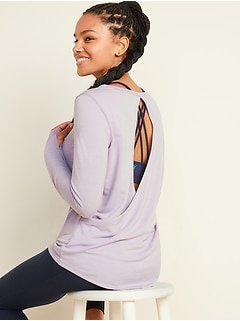 Relaxed Cutout-Back French Terry Top for Women