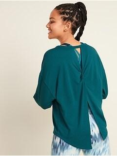 Chandail sport en tissu éponge léger avec fente au dos pour femme