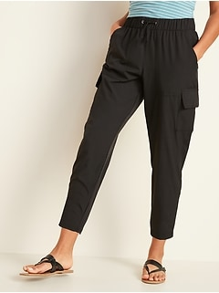 High-Waisted StretchTech Cargo Jogger Ankle Pants for Women