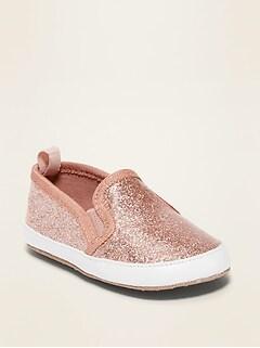 Pink Glitter Slip-Ons for Baby