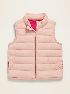 Pink Packable Narrow-Channel Puffer Vest for Toddler Girls