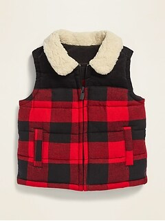 Unisex Sherpa-Collar Flannel Vest for Baby