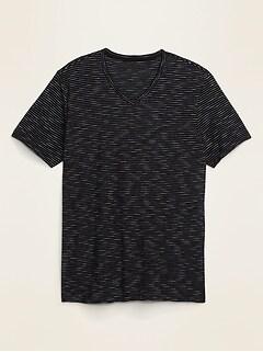 Soft-Washed Slub-Knit Striped V-Neck Tee for Men