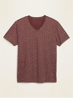 T-shirt à imprimé à col en V au fini soyeux, coupe parfaite pour homme