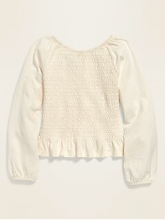 Long-Sleeve Smocked Top for Girls