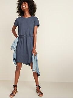 Waist-Defined Slub-Knit T-Shirt Dress for Women
