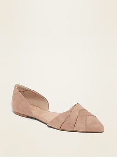 Faux-Suede Woven D'Orsay Flat Shoes for Women