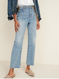 Extra-High Waisted Sky-Hi Straight Raw-Edge Jeans for Women
