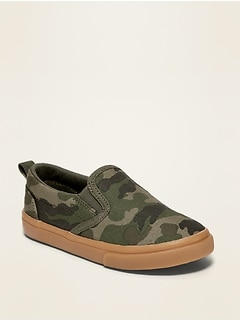 Camo-Print Canvas Slip-Ons for Toddler Boys