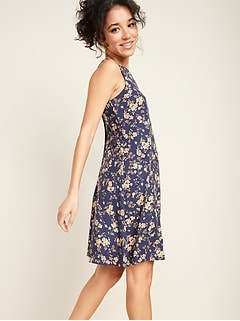 Printed Jersey Sleeveless Swing Dress for Women