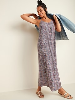 Ditsy-Floral Sleeveless Maxi Shift Dress for Women