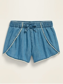 Chambray Crochet-Trim Tulip-Hem Pull-On Shorts for Toddler Girls