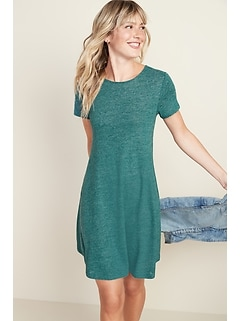 Linen-Blend Jersey Swing Dress for Women