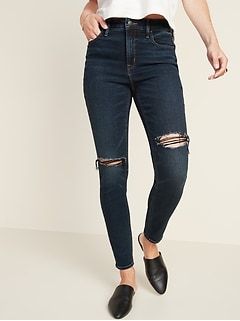 High-Waisted Ripped Dark-Wash Rockstar Super Skinny Jeans for Women