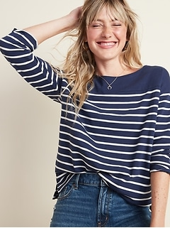 Thick-Knit Striped 3/4-Sleeve Boat-Neck Tee for Women