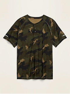 Ultra-Soft Breathe ON Camo Henley Tee for Men