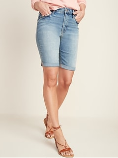 High-Waisted Cuffed Bermuda Jean Shorts for Women -- 9-inch inseam