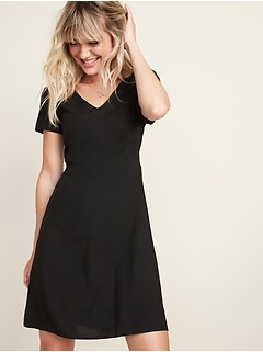 Fit & Flare V-Neck Dress for Women