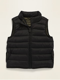 Frost-Free Solid Puffer Vest for Toddler Boys