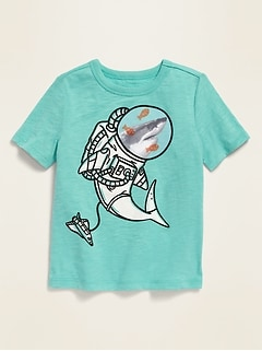 Short-Sleeve Slub-Knit Graphic Tee for Toddler Boys