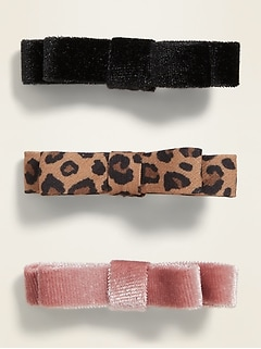 Ribbon Bow-Tie Hair Clips 3-Pack for Girls