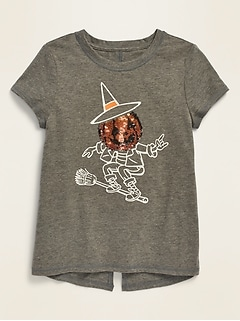 Halloween-Graphic Split-Back Tee for Girls