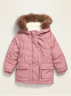Unisex Water-Resistant Faux-Fur-Trim Hooded Parka for Toddler