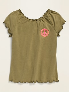 Graphic Lettuce-Edge Jersey Top for Girls