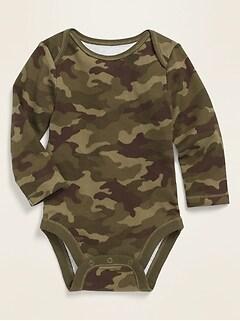 Unisex Long-Sleeve Rib-Knit Bodysuit for Baby