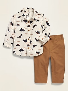 Printed Poplin Shirt & Twill Pants Set for Baby