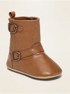 Unisex Faux-Leather Buckled Tall Boots for Baby