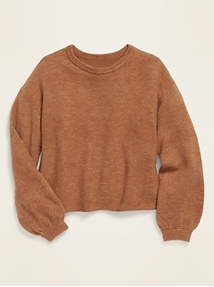 Balloon-Sleeve Crew-Neck Sweater for Girls