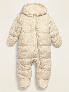 Leopard-Print Water-Resistant Snowsuit for Baby