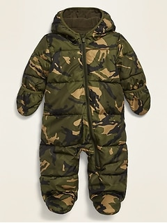 Unisex Camo-Print Quilted Water-Resistant Snowsuit for Baby