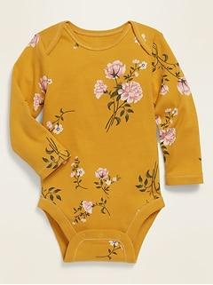 Unisex Printed Long-Sleeve Rib-Knit Bodysuit for Baby